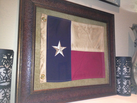 "Antiqued Texas Flag - Cloth Stitched & Framed in Elegant Mahogany 31"" x 27"""