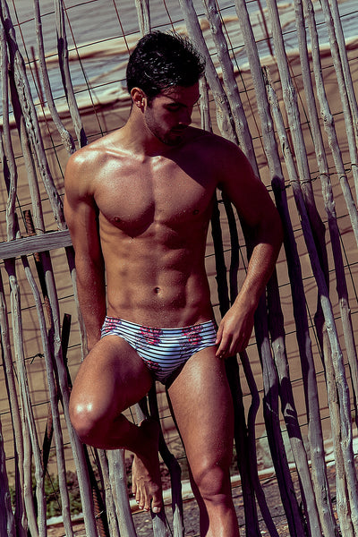 Rose Stripe Swim Brief