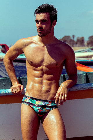 Tropical Stripe Print Swim Brief