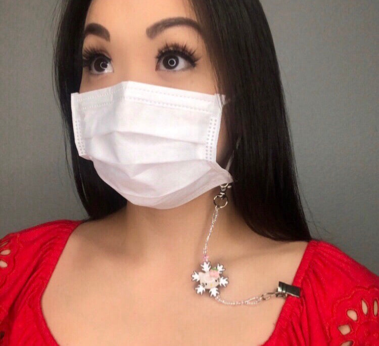 Faceted Onyx Heart Face Mask Leash