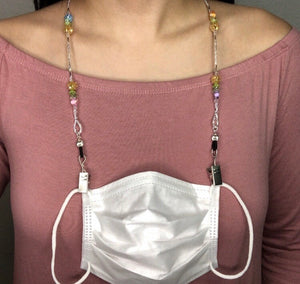 White Glass Pearls Face Mask Necklace
