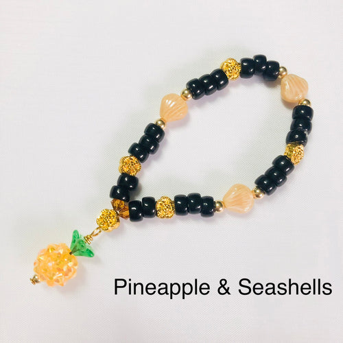 Pineapple & Seashell Stretchy Bracelet