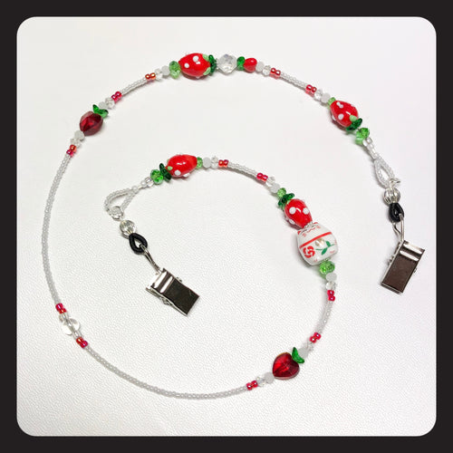 Rose Strawberry Kitty Face Mask Necklace
