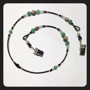Cloisonné, Aventurine & Crystal Face Mask Necklace