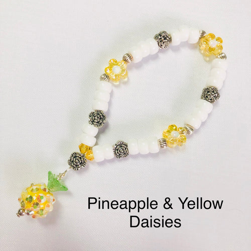 Pineapple & Yellow Daisy Stretchy Bracelet