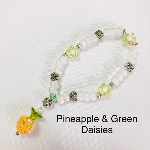 Pineapple & Green Daisy Stretchy Bracelet