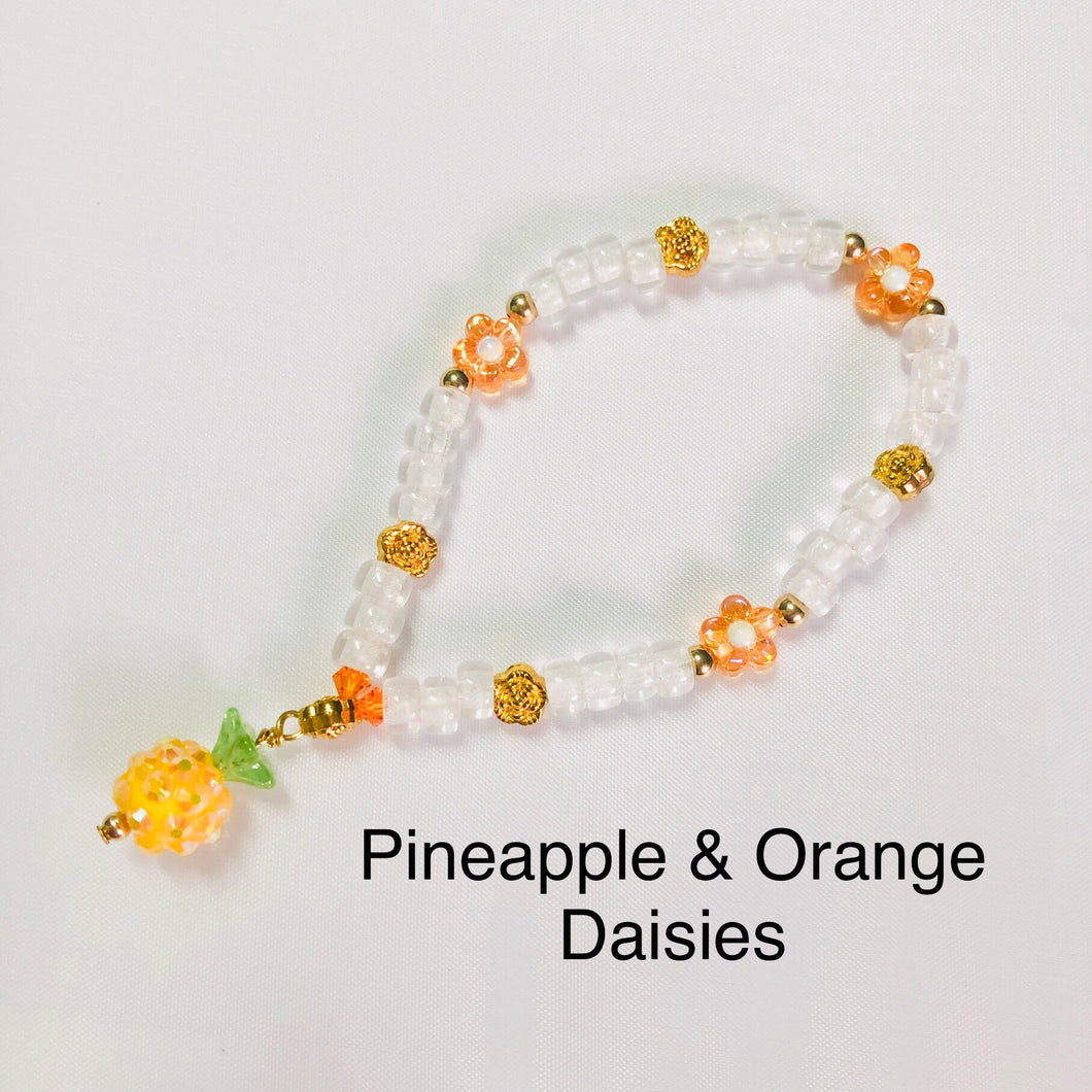 Pineapple & Orange Daisy Stretchy Bracelet
