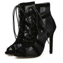 Load image into Gallery viewer, Net Suede Cross Stap Lace-up Sandal Heel - BellaNiecele