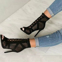 Net Suede Cross Stap Lace-up Sandal Heel - BellaNiecele