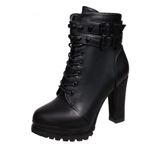 High Heel Mature Boots Flat Buckle - BellaNiecele