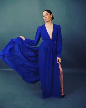 Plunge V Neck Double Slit Gown - BellaNiecele