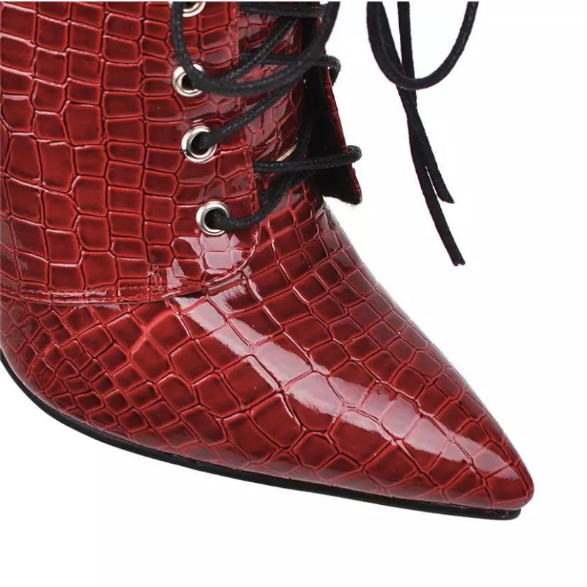 Lace Up High Heel Snake Boots - BellaNiecele