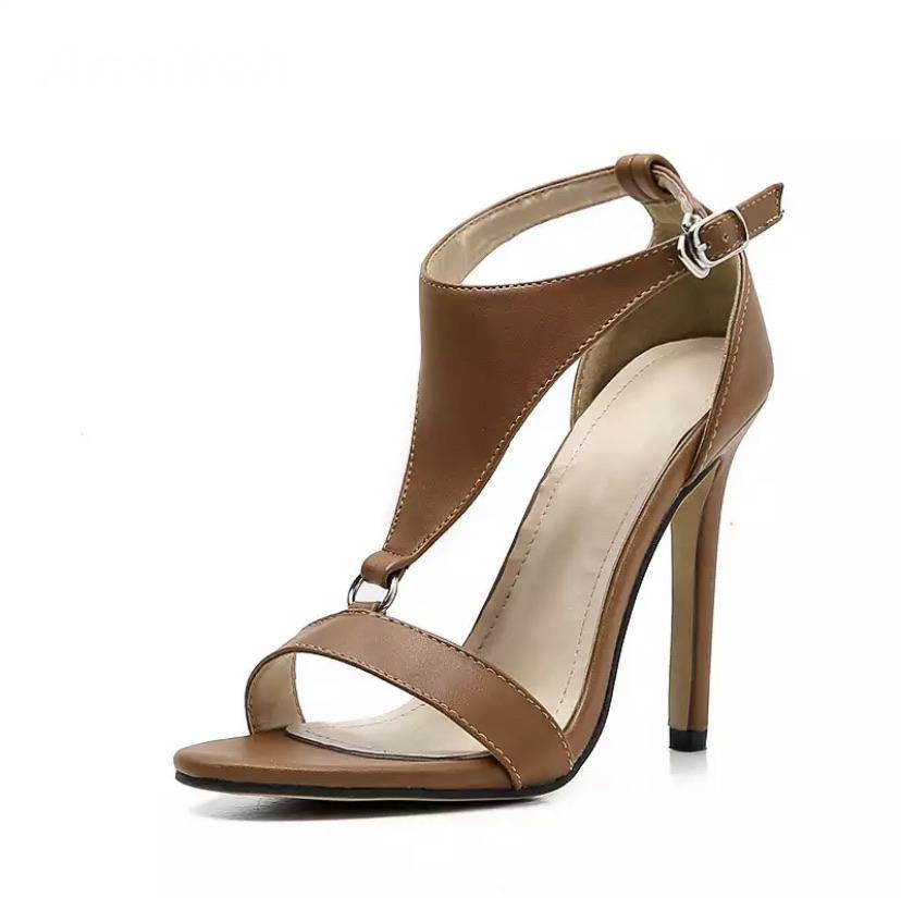 T Strap Stiletto Heels Open Toe Sandals Buckle Strap - BellaNiecele