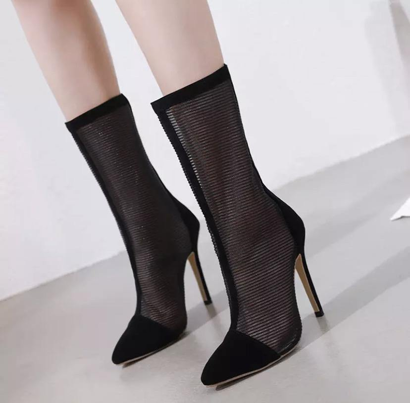 Pointed Toe Mesh Air Sexy Ankle Botas - BellaNiecele