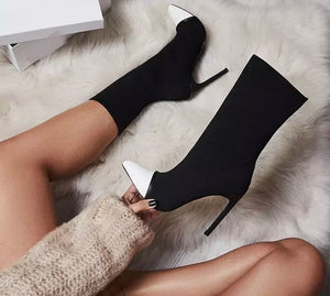 Pointed Leather Toe Tall Booties