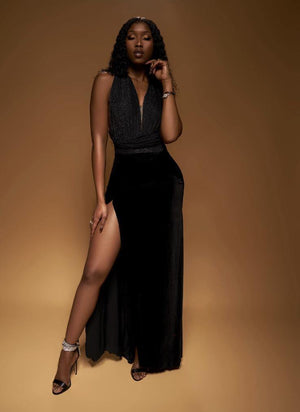 Velvet Draped Skirt - BellaNiecele