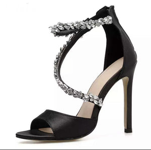Open-toed Rhinestone High Heel Women Sandals - BellaNiecele