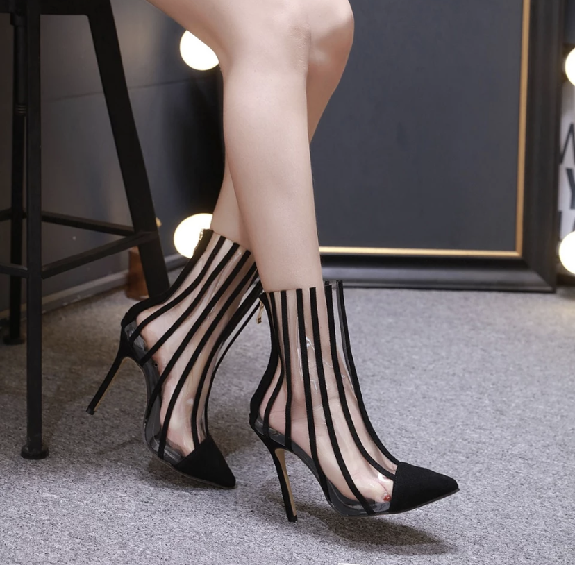 Transparent Boots Sandals Pointed Toe - BellaNiecele
