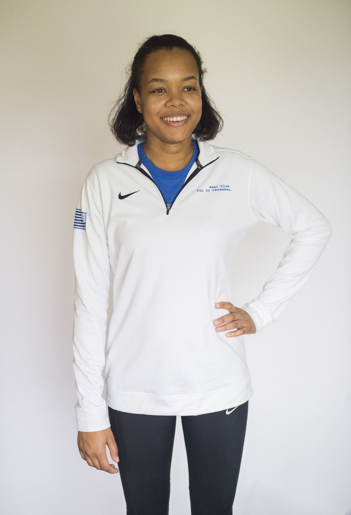 Women's White Long Sleeve Training Half-Zip