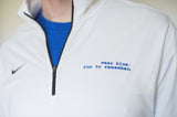 Men's White Long Sleeve Training Half-Zip
