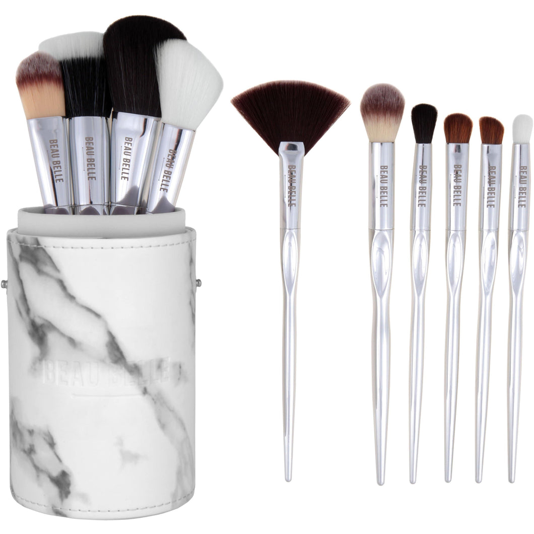 Marble Luxe Make Up Brush Pot - 10 Piece - Beau Belle Brushes