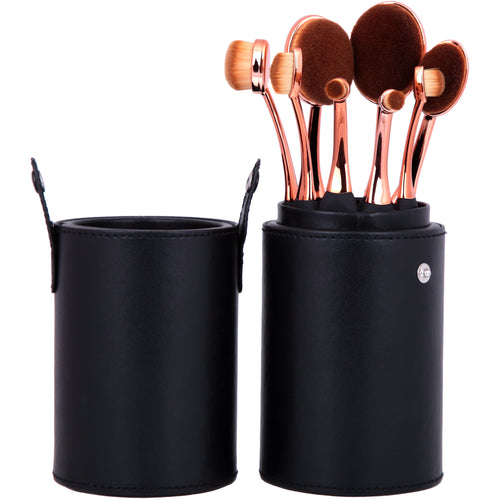 Oval Mastery Make Up Brush Pot - 8 Piece - Beau Belle Brushes