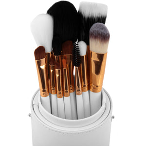 Complete White Make Up Brush Pot - 12 Piece - Beau Belle Brushes