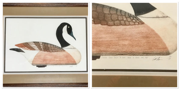 Canada Goose Decoy Vintage Print Signed by Arthur Nevin number 133/150 - Regalo Di Lusso
