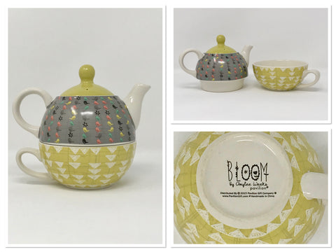 Bloom by Amylee Weeks Teapot and Cup Nesting Set by Pavilion