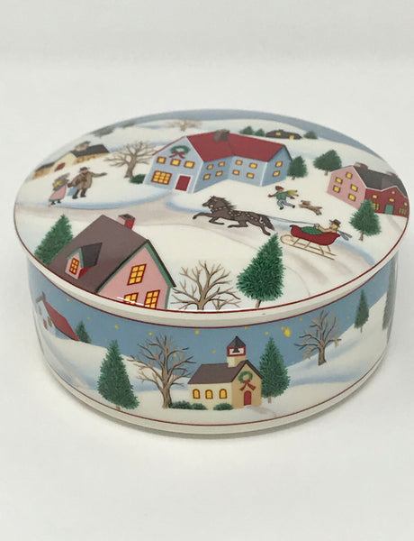 Mikasa Holiday Village Covered Round Box Candy Trinket Dish - Regalo Di Lusso
