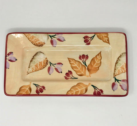 Vintage Italian Pottery Floral Tray Made in Italy - Regalo Di Lusso