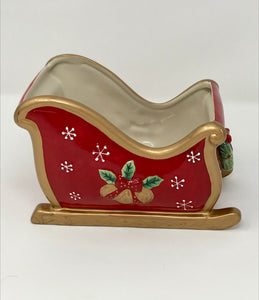 Vintage Fitz and Floyd Christmas Sleigh Candy Cane Holder the Perfect Christmas Decor - Regalo Di Lusso