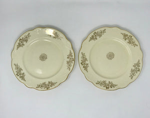 "Vintage Homer Laughlin 9.5"" Luncheon Plate Two Piece Set Golden Rose Marigold Shape - Regalo Di Lusso"