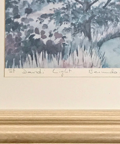 "Vintage Colored Print Signed by Mary Powell ""St. David Light Bermuda"" from 1983 - Regalo Di Lusso"