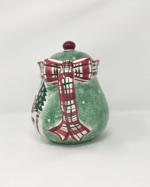 Winter Scene Vintage Teapot with a Festive Plaid Ribbon Handle - Regalo Di Lusso