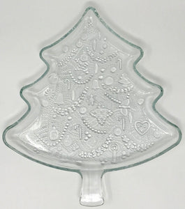 "Christmas Tree 12"" Crystal Serving Tray by Indiana Glass - Regalo Di Lusso"