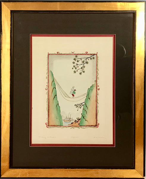 "Dan Mitra ""Crossing The Frontier"" Intaglio Hand Colored Engraving Art Print - Regalo Di Lusso"