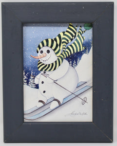Vintage Decor Skiing Print in Gray Frame of Snowman Skiing by Michael White - Regalo Di Lusso