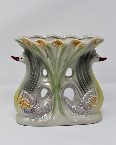 Double Swan Vase Made in Brazil Home Decor Housewarming Gift - Vintage Theme - Regalo Di Lusso