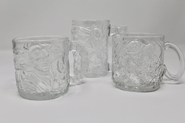 Batman Forever McDonalds Vintage 3D Glass Mugs Set of 3 - Regalo Di Lusso