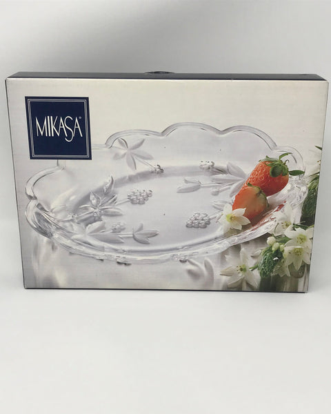 Mikasa Oval Plate Garden Terrace Glass Serveware Made in Japan Wedding Gift - Regalo Di Lusso