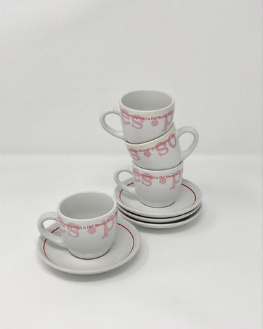 Vintage Espresso Pink and White Four Piece Set by Design Studio - Regalo Di Lusso