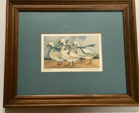 Beautiful White Geese Print Signed by the Artist is a Great Home Decor Gift! - Regalo Di Lusso