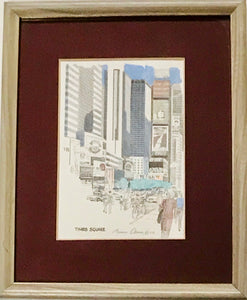 "Vintage ""Times Square"" Colored Signed Print by Bruce Arvon is a Great Gift for Him - Regalo Di Lusso"