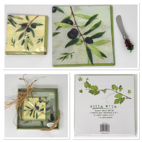 Bella Vita Olive Tempered Glass Cutting Board, Napkins and Spreader Gourmet Set