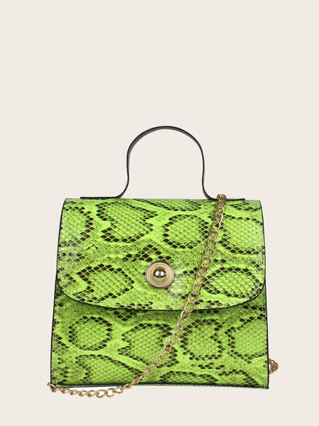 Snakeskin Mini Flap Satchel