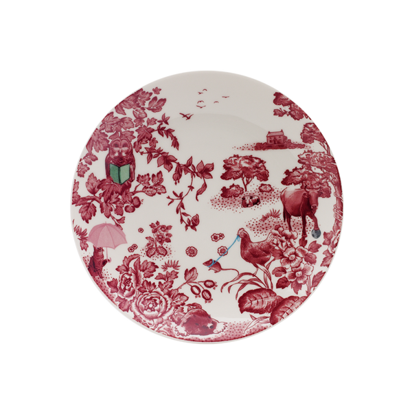 A Curious Toile 21cm Salad Plate (Red)