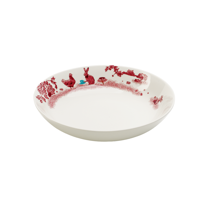A Curious Toile 23cm Pasta Bowl (Red)
