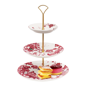 A Curious Toile 27cm 3-Tier Cake Stand (Red)