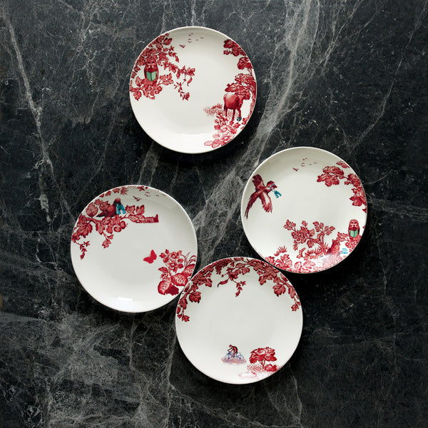 A Curious Toile Set of 4 x 21cm Assorted Salad Plate (Red)